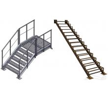 Наружные металлические входные лестницы прямые