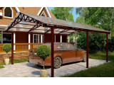 Двускатный навес из поликарбоната для машины во дворе частного дома