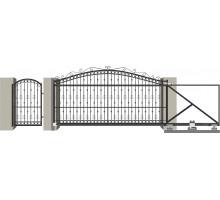 Кованые ворота откатные с Дугой 3