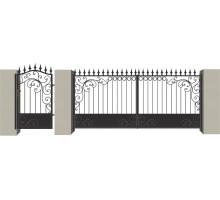 Распашные кованые ворота №1