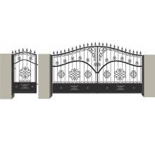 Распашные кованые ворота №6