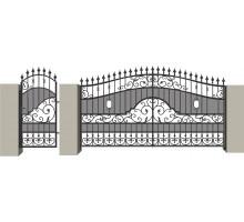 Распашные кованые ворота №7