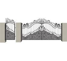 Распашные кованые ворота №8