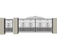 Распашные кованые ворота №9