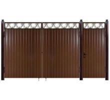 Дачные ворота из профнастила  с решеткой в верхней части